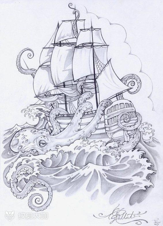 帆船 纹身图案 纹身手稿