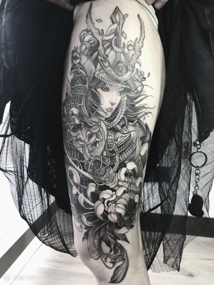 女武士 纹身图案手稿图片 Devin的纹身作品集